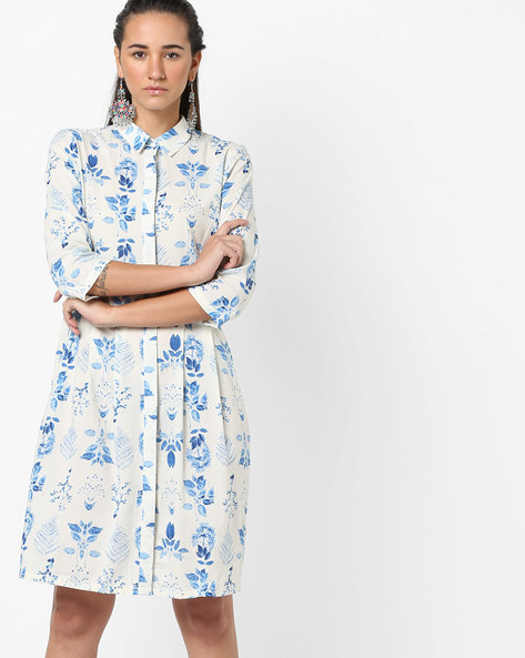 Floral Print Pleated Shirt Dress By AJIO ( Blue )