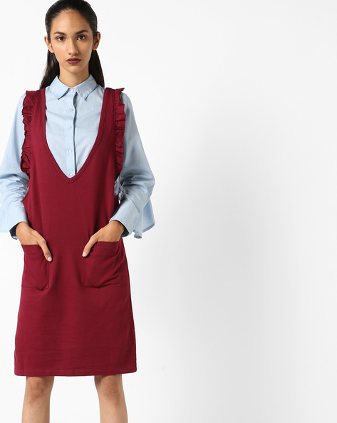 Sleeveless Dress With Ruffled Sleeves By Evah London ( Burgundy )