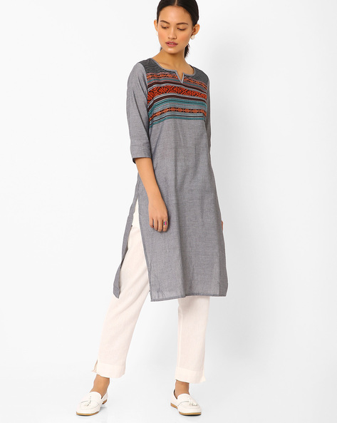 Straight Kurta With Embroidery By AURELIA ( Black ) - 440732799001