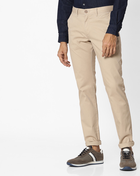 Tapered Fit Flat-Front Chinos By NETPLAY ( Beige )