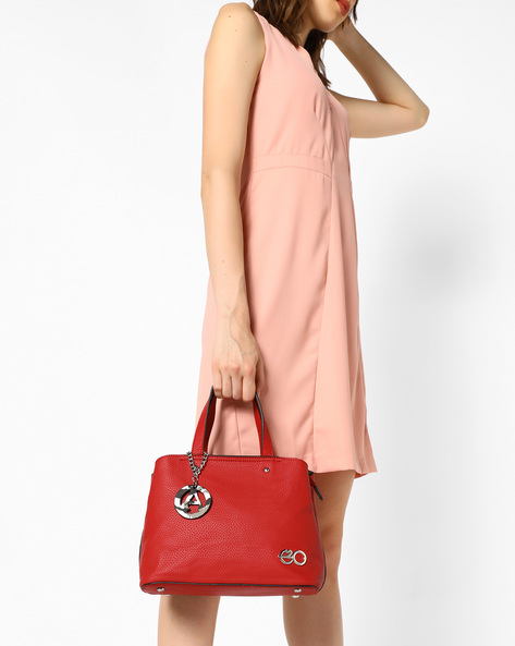 Textured Satchel Bag With Detachable Strap By E2O ( Red )