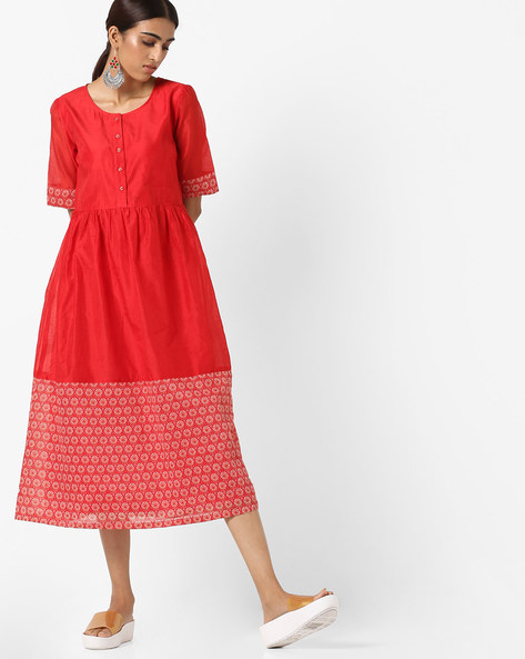 Button-Front Fit & Flare Midi Dress By AJIO ( Red )