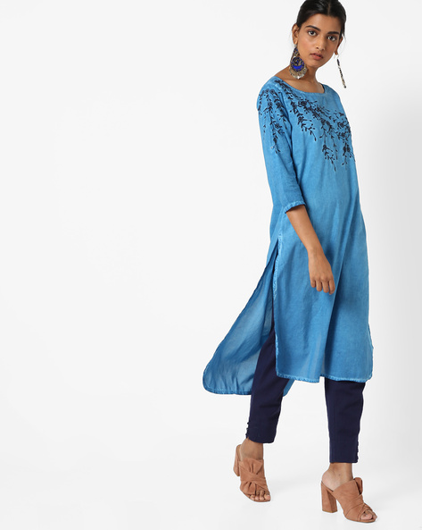 Embroidered Straight Kurta With High-Low Hem By Melange By Lifestyle ( Blue )