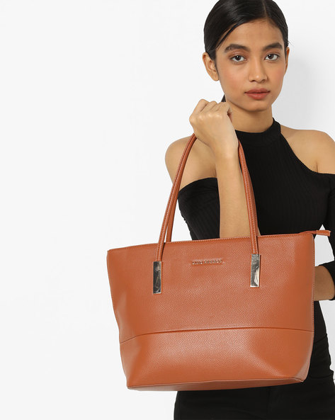 Textured Shoulder Bag By Lino Perros ( Tan )