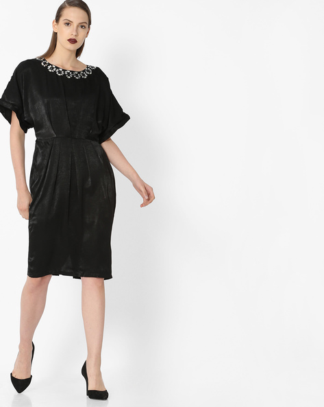 Pleat-Front Dress With Embellishments By Project Eve WW Evening ( Black )