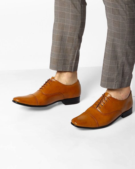 Formal Lace-Up Oxford Shoes By Modello Domani ( Tan )