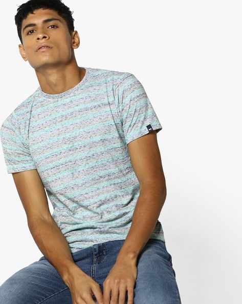 Striped Crew-Neck T-shirt By BASICS ( Green )