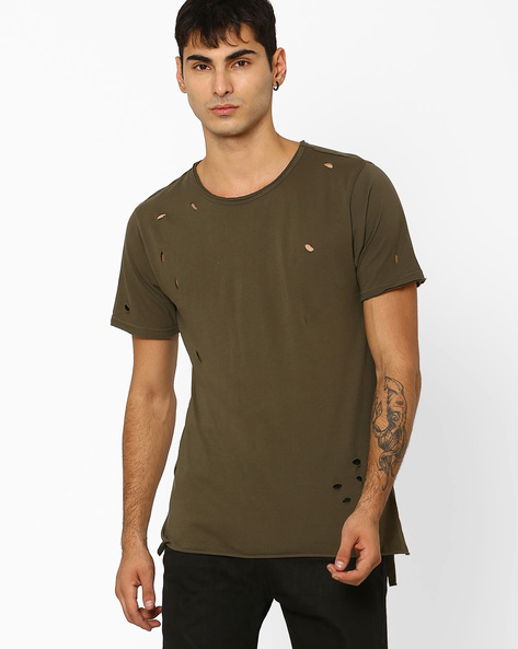Ripped Longline Slim Fit T-shirt By ADAMO LONDON ( Olive )