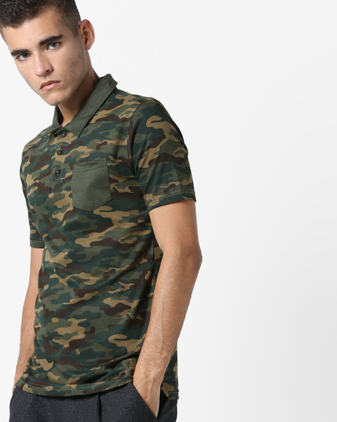 Camouflage Print Polo T-shirt With Patch Pocket By DIFFERENCE OF OPINION ( Khaki )