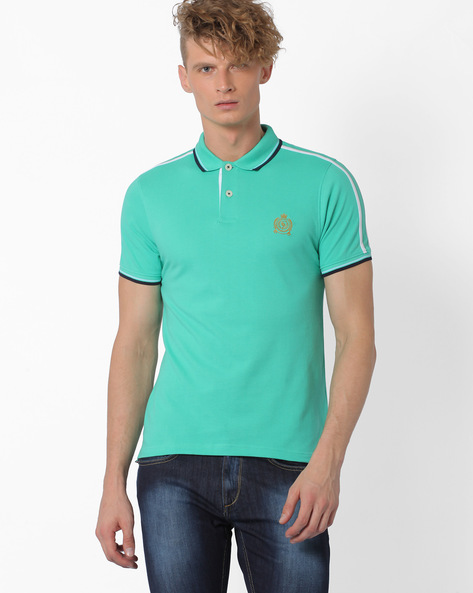 Polo T-shirt With Contrast Taping By TEAM SPIRIT ( Green )