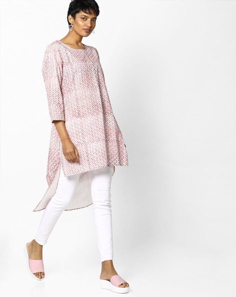 Printed High-Low Tunic By PE IW Fusion ( Pink )