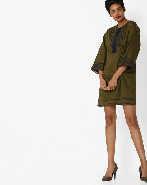 Embroidered Shift Dress With Tassels By Rena Love ( Olive )