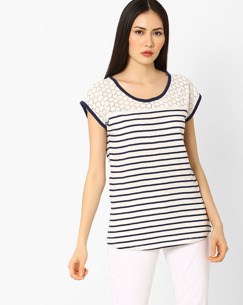 Striped Top With Crochet Panel By Fame Forever By Lifestyle ( Navy )