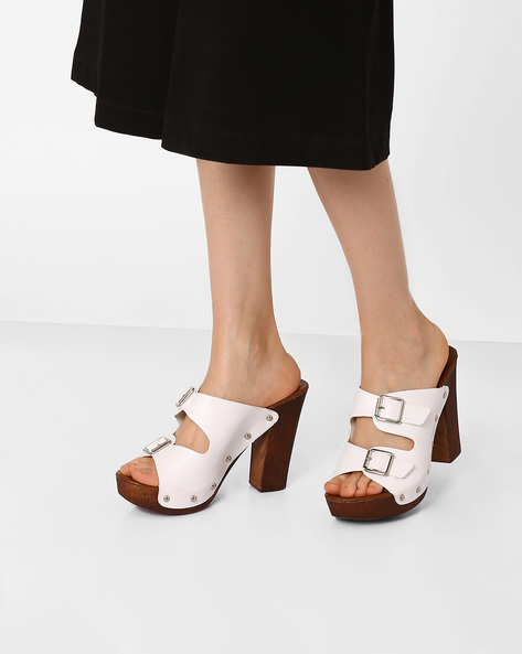 Double-Strap Platform Sandals By Jove ( White )