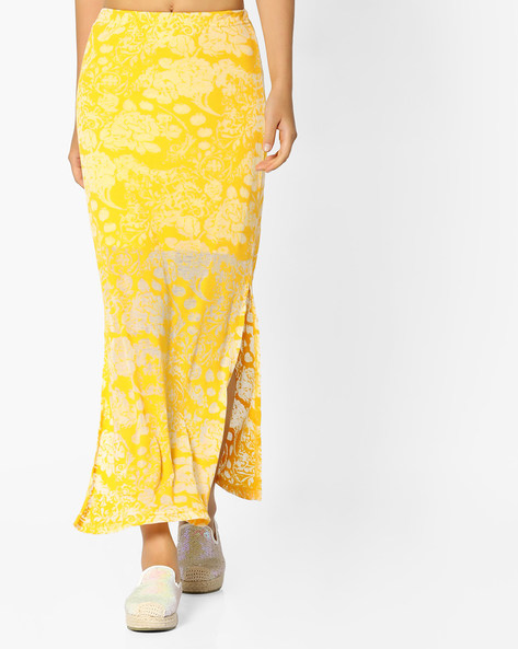 Floral Maxi Skirt By And ( Printed )