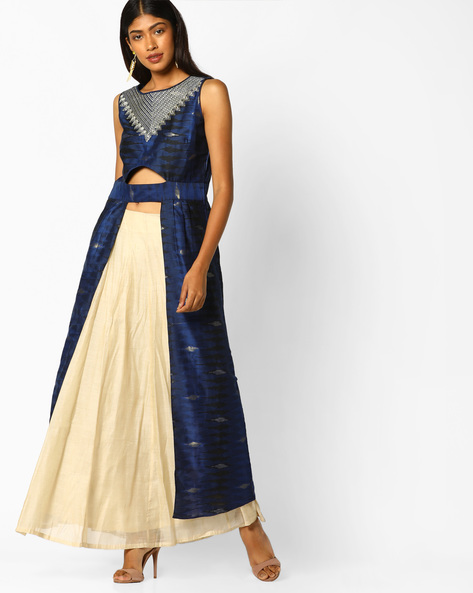 Embroidered Sleeveless Kurta With Skirt Set By Global Desi ( Blue )