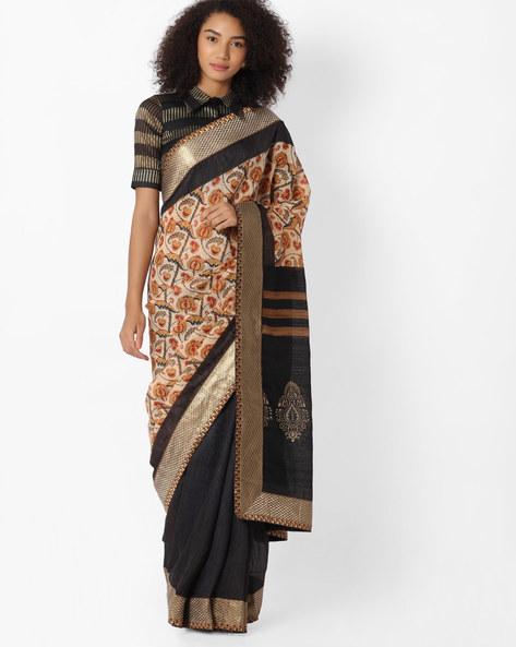 Printed Half-and-Half Saree By VIPUL ( Grey )