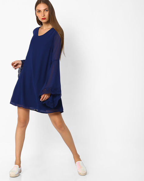 Shift Dress With Cut-Outs By AJIO ( Navyblue )