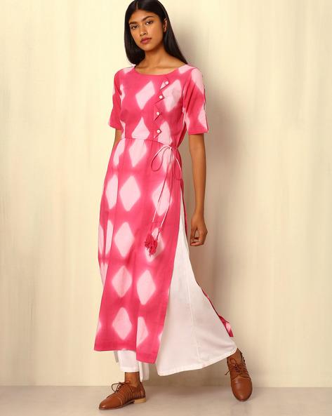 Tie-and-Dye Cotton Kurta By Sanyogini ( Pink )