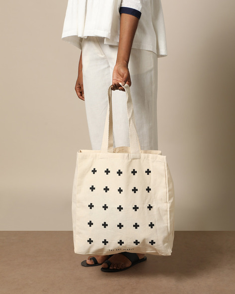 Multipurpose Cotton Canvas Tote Bag By The Art People ( White ) - 460179687001