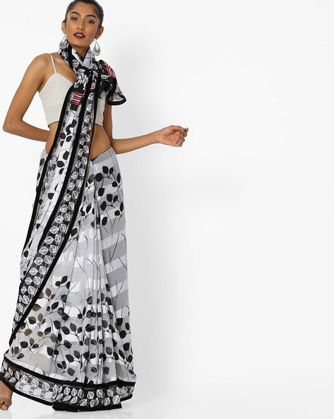 Printed Saree With Contrast Border By CHHABRA 555 ( Black )