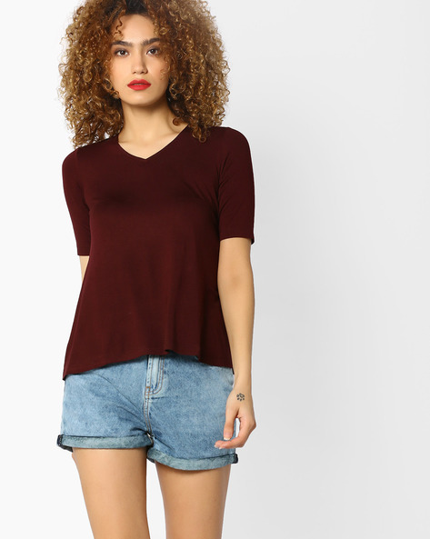 Relaxed Fit V-neck Top By CODE By Lifestyle ( Wine )