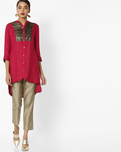 High-Low Tunic With Mandarin Collar By Akkriti By Pantaloons ( Red )