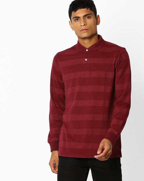 Cotton Striped Polo T-shirt By NETPLAY ( Maroonburg )