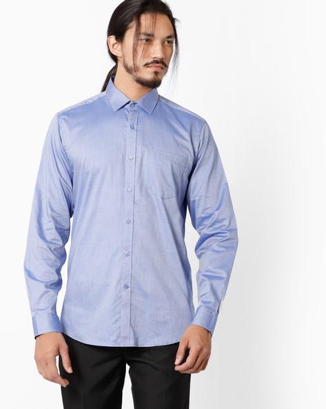 Slim Shirt With Cut & Sew Placket By Black Coffee ( Blue )