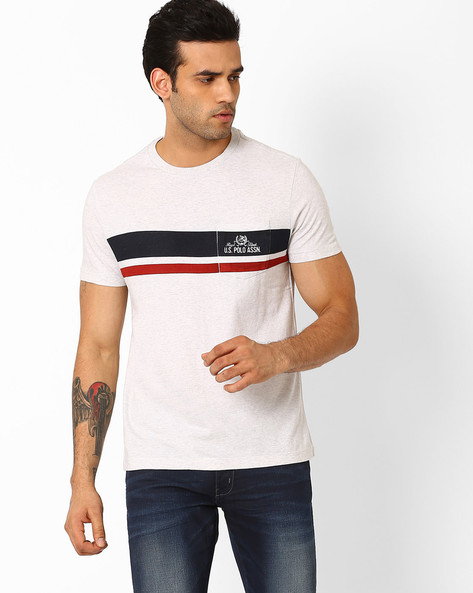 Slim Fit Crew-Neck T-shirt By US POLO ( Ecru )