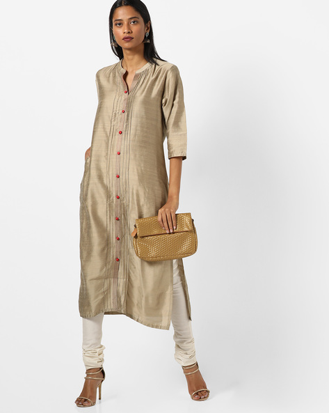Collared Straight Kurta With Insert Pockets By Shree ( Beige )