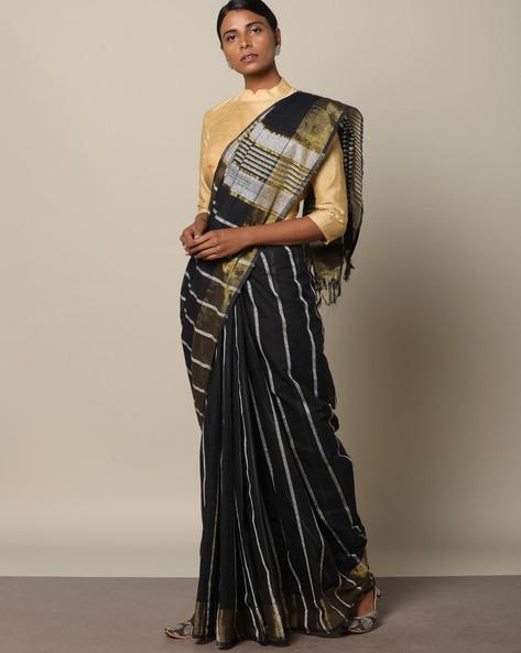 Textured Cotton Saree With Striped Pallu By Indie Picks ( Black )