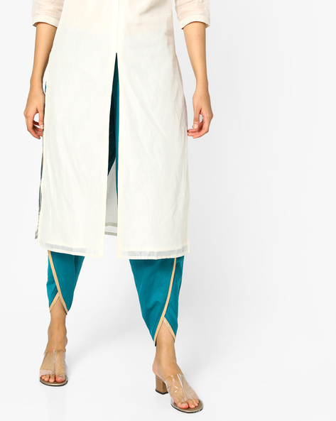Dhoti Pants With Drawstring Waist By AJIO ( Teal )