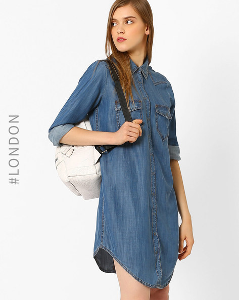 Denim Shirt Dress With Flap Pockets By Marks & Spencer ( Indigo )
