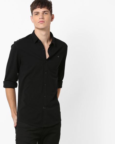 Regular Fit Shirt With Adjustable Cuffs By ED HARDY ( Black )