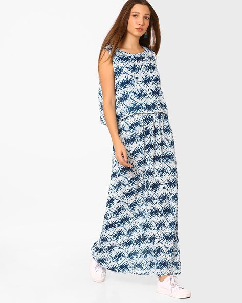 Printed Sleeveless Maxi Dress By AJIO ( White )
