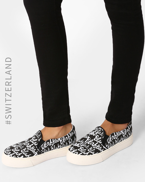 Printed Platform Slip-Ons By TALLY WEiJL ( Black )