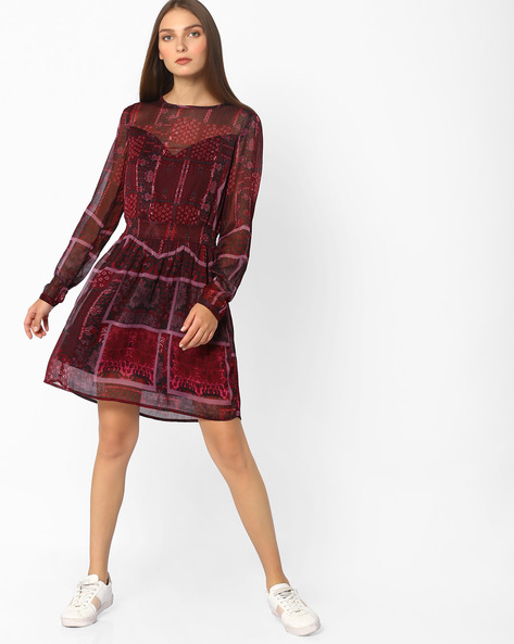Printed Fit & Flare Dress With Sheer Panel By Oxolloxo ( Maroon )