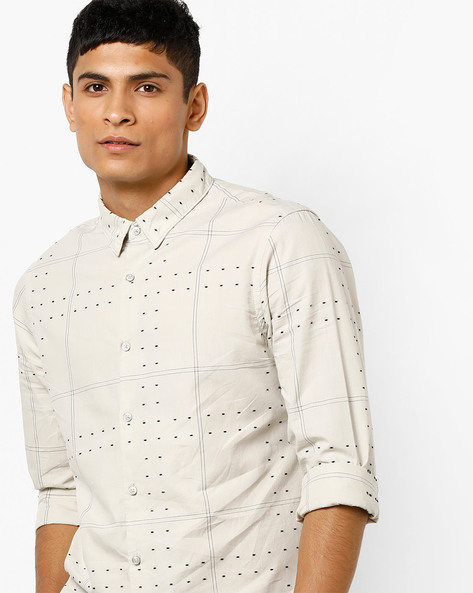 Printed Shirt With Woven Motifs By AJIO ( Grey )