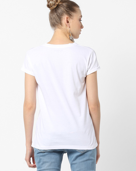 Graphic Print Crew-Neck T-shirt By Pepe Jeans ( White )