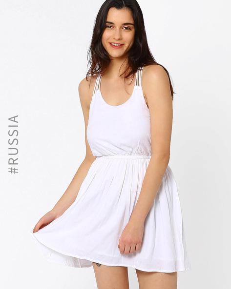 Fit & Flare Dress With Stappy Raceback By Kira Plastinina ( White )