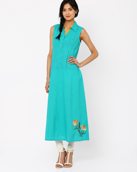 Sleeveless Dress With Collar By AJIO ( Turquoise )