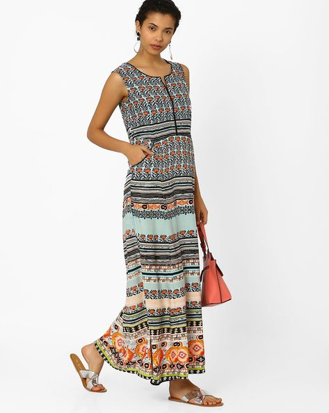 Floral Print Maxi Dress By Biba ( Turquoise )