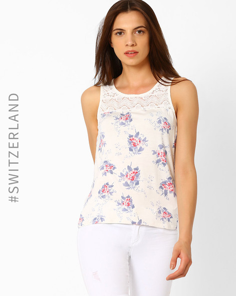 Printed Top With Lace Yoke By TALLY WEiJL ( Multi )