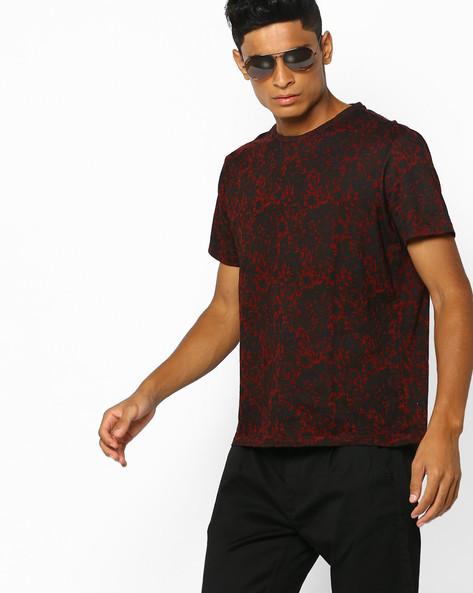 Floral Print Crew-Neck T-shirt By AJIO ( Brown )