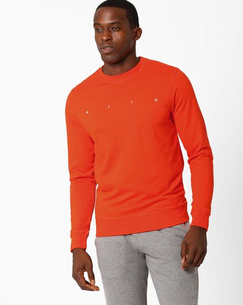 Crew-Neck Core Regular Fit Sweatshirt By AJIO ( Orange )