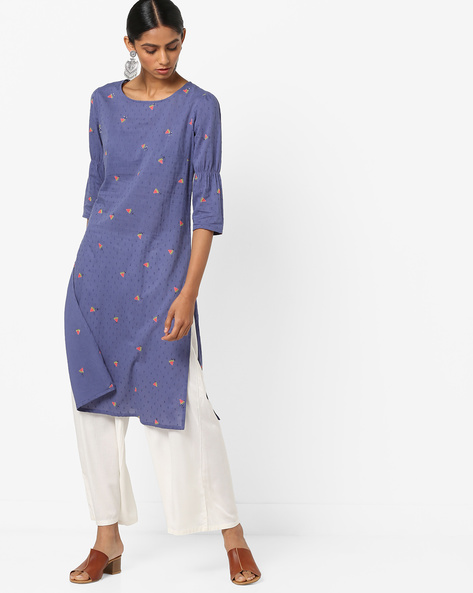 Printed Dobby-Weave Kurta By AJIO ( Blue )