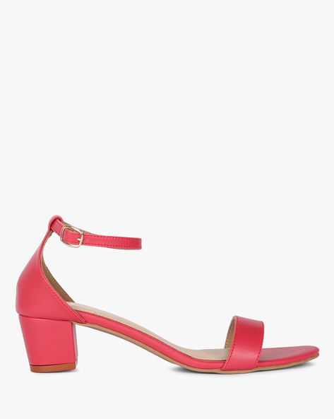 Block Heels With Buckle Closure By MUAZ ( Pink )