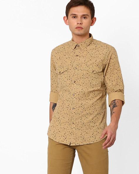 Polka-Dot Print Slim Fit Shirt By AJIO ( Beige )