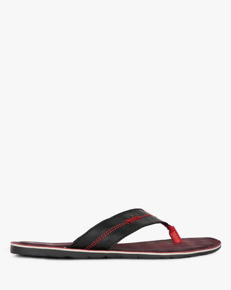 Thong-Strap Flip-Flops With Stitch Accent By Estd.1977 ( Red )